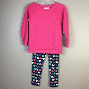 Pretty SPRING Terry 2 Pc Pink Heart Pants Top Set